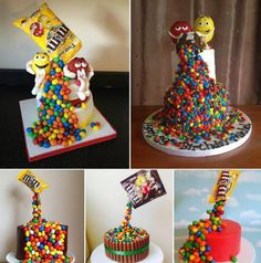This amazing, gravity defying cake actually looks like there's a packet of m&m's suspended above, pouring down onto the cake. As always, thi...