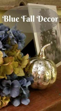 Using Blue In Your Fall Decor ~ Southern Gardening Gal Blue Fall Decor, Elegant Fall Decor, Coastal Fall, Autumn Decorating, Decorating Ideas, Seasonal Decor, Fall Decorations, Blue And Copper, Floral Pillows