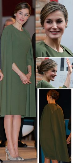 La Reina Letizia estrenó un precioso vestido capa en verde oliva para la entrega de los Premios Nacionales de Innovación y Diseño.