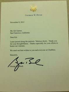 A thank you note from George W. Bush for sending him a pair of 'Mericas.