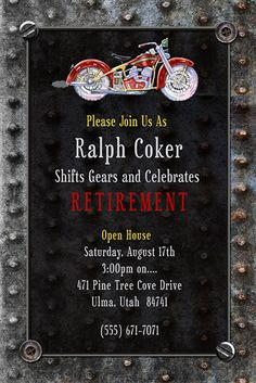 Shift gears and celebrate with vintage style motorcycle retirement invitation cards! Black & silver-gray colors can be changed, as can metal-like graphics Retirement Invitation Card, Invitation Ideas, Invitation Cards, Happy Retirement, Retirement Parties, At Risk Youth, 60th Birthday, Open House, Ministry