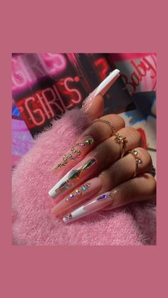 Colourful Acrylic Nails, Long Square Acrylic Nails, French Acrylic Nails, Bling Acrylic Nails, Glue On Nails, Crazy Acrylic Nails, Bling Nails, Nail Designs Bling, Nails Design With Rhinestones