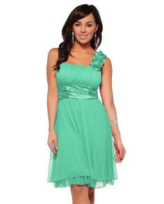 Designer Gathered Empire Flowy Evening Prom Party Dress (Medium, Mint)