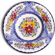 Portuguese decorative plate, floral design.