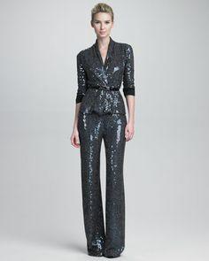 I WANT THESE PANTS!!!   Glitter Cardigan Jacket & Glitter Wide-Leg Pants by Armani Collezioni at Neiman Marcus.