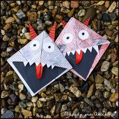 Papíroví čerti   Nápady pro Aničku.cz Kids Crafts, Advent, Origami, Art Projects, Playing Cards, Christmas, Education, Creative Bookmarks, Creativity