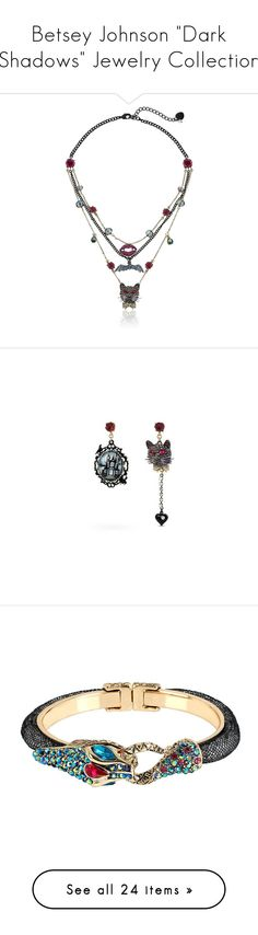 """Betsey Johnson ""Dark Shadows"" Jewelry Collection"" by atomik-concia ❤ liked on Polyvore featuring jewelry, necklaces, betsey johnson, pave jewelry, betsey johnson jewellery, betsey johnson jewelry, illusion necklace, earrings, multi y cat jewelry"