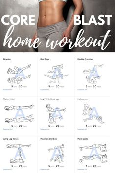 Core Blast Home Workout hardcore absworkout nomuffintop muffintop flatabs getflat bellybulge sixpackabs Workout Bauch, At Home Workout Plan, Physical Fitness, No Equipment Workout, Fitness Equipment, Get In Shape, Excercise, Hiit, Cardio