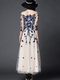 Embroidered Mesh Evening Dress