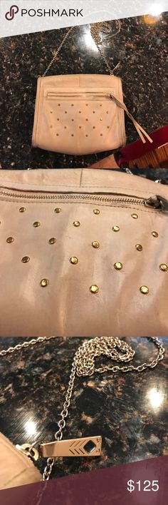 "Lauren Merkin Bag - EUC Pre-loved, but beautiful genuine leather bag with gold studding and details. 22.5"" shoulder drop. 6.75"" high. 8.25"" wide. Made in USA! Light pink / nude Lauren Merkin Bags Crossbody Bags"