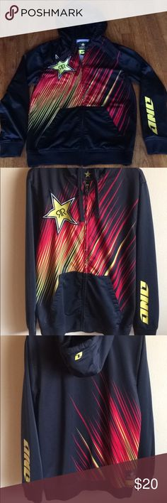 ROCKST⭐️R jacket Long sleeve Rockstar zip up hooded jacket. Size Medium   Smoke free and pet free home  Reasonable offers accepted  Bundle and save! Jackets & Coats