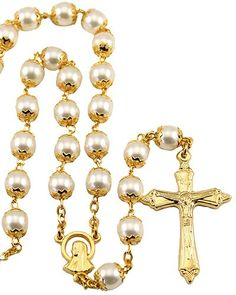 Order & Save 10% on Pearl Capped Beads Gold Tone Rosary with Gold finish with an oxidized Crucifix.