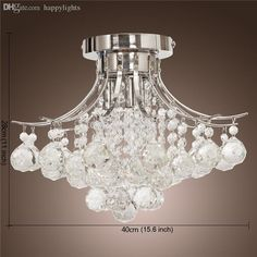 Wholesale-2pcs Chrome Finish Crystal Chandelier with 3 lights Crystal Flush…
