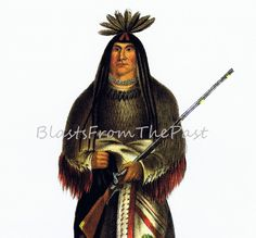 Vintage Native American Indian Chief Print 'Wanata' aka the Charger, Perfect for framing, Sioux chief, Beautifully Illustrated, Historical by BlastsFromThePast on Etsy