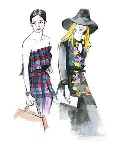 Fashion illustration inspired by street fashion blogger at Paris fashion week by Houston fashion illustrator Rongrong DeVoe