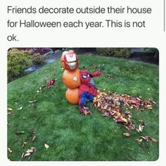 Post with 36 votes and 1457 views. Tagged with spiderman, iron man, marvel, avengers, tooyoungtodie; I dont feel so good about Halloween this year. Funny Af Memes, Funny Marvel Memes, Marvel Jokes, Dc Memes, Avengers Memes, Funny Relatable Memes, Hilarious, Funny Halloween Memes, Marvel Dc
