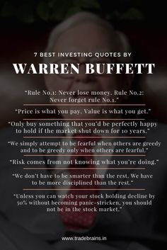 """7 Best Investing Quotes By Warren Buffett -""""Price is what you pay. Value is w… 7 Best Investing Quotes By Warren Buffett -""""Price is what you pay."""" """"Rule Never lose money. Rule Never forget rule Financial Quotes, Career Quotes, Money Quotes, Financial Tips, Success Quotes, Work Quotes, Change Quotes, Penny Stocks Investing, Value Investing"""
