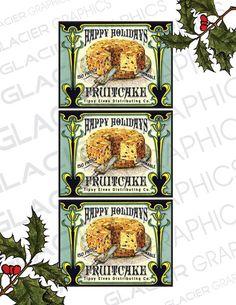 Lustig-Vintage-Stil Weihnachten Fruitcake Christmas Pudding Label Holiday Fruitcake digitaler Download Bild druckbare Etikettenbogen für Card