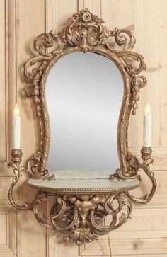 Vintage Italian Rococo Lighted Vanity Mirror   From a unique collection of antique and modern wall mirrors at https://www.1stdibs.com/furniture/mirrors/wall-mirrors/