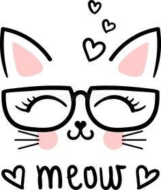 Cute Meow, Cartoon Cat With Glasses. Kawaii Drawings, Easy Drawings, Cat Wallpaper, Cat Party, Cute Cartoon, Doodle Art, Cute Art, Art Sketches, Painted Rocks