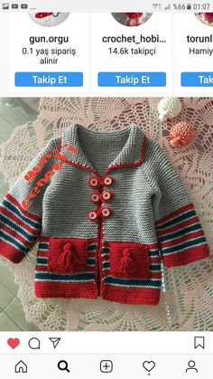 Free Knitting Patterns for Toddlers Cardigans Crochet For Boys, Knitting For Kids, Free Knitting, Crochet Baby, Knit Crochet, Toddler Cardigan, Knitted Baby Cardigan, Diy Crafts Knitting, Pull Bebe