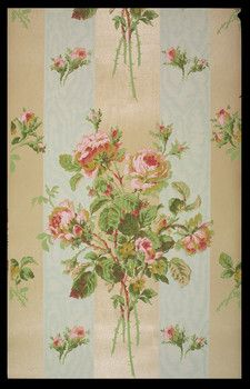 Wallpaper with bouquets against stripes of alternating liquid mica and blue moire.   Made 1895-1910 by Frederick Beck & Company of New York. Similar paper found in our 1890s house.