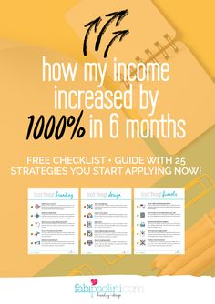 How I increased my income by 1000% in 6 months. Free checklist + guide included with 25 strategies you can follow to boost your business and brand. Boost through branding, design, sales funnels, social media, sharing, content creation