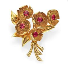 A RETRO GOLD AND PINK TOURMALINE BROOCH, BY VAN CLEEF & ARPELS   Designed as a bouquet of five sculpted 18k gold flowers, each set with a circular-cut pink tourmaline pistil, to the tapered gold leaves and stems, mounted in 18k gold, circa 1940, with French assay marks and maker's mark  Signed Van Cleef & Arpels (partially indistinct), no. 55023