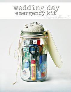 Looking for a fun bridal shower gift?  Why not make her a mason jar wedding  emergency kit?  That way she'll have everything she needs for the big day!