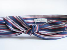 Navy Blue Headband with Red Stripes  Bow Headwrap  by FlosCaeli, $10.00