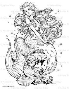 Fishy Friends Mermaid Myth Mythical Mystical Legend Mermaids Siren Fantasy Mermaids Ocean Sea Enchantment Sirens Meerjungfrau sirène sirena Русалка pannu h Mermaid Coloring Book, Coloring Book Pages, Printable Coloring Pages, Fairy Coloring, Kids Coloring, Mandala Coloring, Coloring Sheets, Mermaid Tattoos, Desenho Tattoo