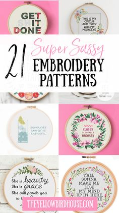Get your craft on with one of these 21 super sassy embroidery patterns. Loads of funny embroidery and cross stitch patterns with attitude! Funny Embroidery, Baby Embroidery, Vintage Embroidery, Cross Stitch Embroidery, Machine Embroidery, Modern Embroidery, Primitive Embroidery, Primitive Stitchery, Mexican Embroidery