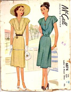 40s Scallop Yoke Day Dress McCalls 6874 Bust 38 Pattern Vintage Sewing. $24.99, via Etsy.