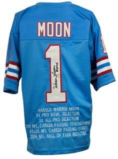Warren Moon Signed Custom Blue Pro-Style Football HOF 06 Insc STAT Jersey  JSA 0e351971b