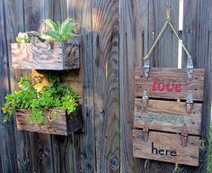 rustic wooden industrial tool boxes garden sign planters, flowers, gardening…