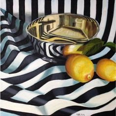 "Kathi Blinn - ""Tipsy Stripes"", Contemporary Graphic High-Contrast Still Life Oil Painting Still Life Drawing, Still Life Oil Painting, Still Life Photography, Fine Art Photography, Photography Flowers, Photography Ideas, Still Life Pictures, Still Life Artists, Expressive Art"