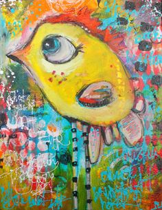 Whatever  Dirty bird acrylic painting with a whimsical by JodiOhl
