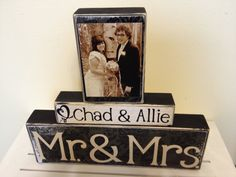 Mr and Mrs Wedding decoration black painted wooden by FayesAttic11