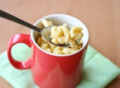 "Pasta in a Mug, 4 other easy ""dorm"" recipes.  Pizza, cake in a mug, nutella fudgesicles, s'mores."