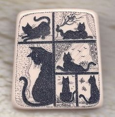 "ButtonArtMuseum.com - ""A Day in The Life of A Cat"" Scrimshaw Collector Button TL7"