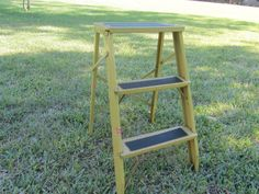 Vintage Metal Step Ladder, Small Ladder, Kitchen Stool, Rustic, Photo Prop, yellow, by KarensChicNShabby on Etsy