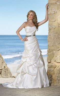 Simple A-line Strapless Beading Pick Up Skirt Ruching Sweep/Brush Train Satin Wedding Dresses $259.99 Wedding Dresses