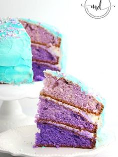 Mermaid Cake Recipe, How to make a perfect ombre mermaid cake, gorgeous layered in purple and topped with custom sprinkles and even a chocolate mermaid tail! Learn how to multi-layer your cake, best pans to use and custom mermaid sprinkles Mermaid Birthday Cakes, Mermaid Cakes, Mermaid Fin, Mermaid Room, Ombre Cake, Dessert Party, Party Desserts, Party Cakes, Valentine's Day Quotes