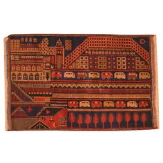 With a distinctive style, a gorgeous area rug from Afghanistan will add some splendor to any decor. This Tribal Balouchi wool rug is hand-knotted with a geometric pattern in shades of red, navy, blue, orange, brown, tan, and chocolate.