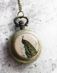 Peacock Pocket Watch Necklace Pendant by SunisUp