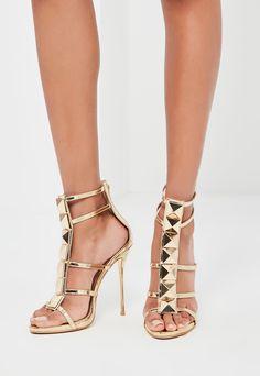 Gold Caged Heeled Gladiator Sandals