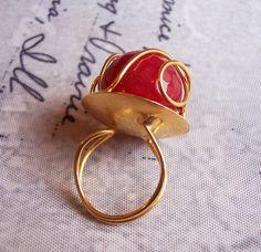 Handmade gold plated ring with spherical dark red agate by GardenOfLinda on Etsy