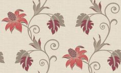 Dominica (75644) - Albany Wallpapers - An all over wallpaper design featuring an exotic floral trail. Shown here in various shades of red and taupe on a cream background with silver glitter detailing. Other colourways are available. Please request a sample for a true colour match.