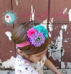Purple Teal Pink Headband Fancy Baby Bows by SweetLittleAleena, $11.95