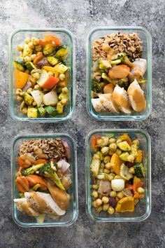 Sheet Pan Meal Prep 2 Ways (again!)- the easiest and most efficient way to prep multiple meal prep lunches at the same time is to use your sheet pans! These pesto chickpea pita pockets and Thai chicken lunch bowls are ready in under 45 minutes and give you two different lunch options to enjoy through the week.